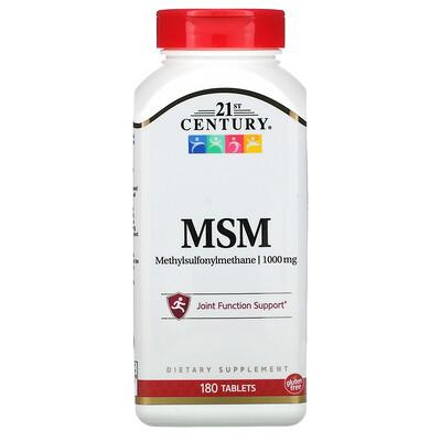 21st Century МСМ-1000, Максимальная сила, 1000 мг, 180 таблеток