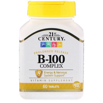 Комплекс B-100 пролонгированного высвобождения, 60 таблеток комплекс аминокислот qnt матрикс bcaa 4800 200 таблеток