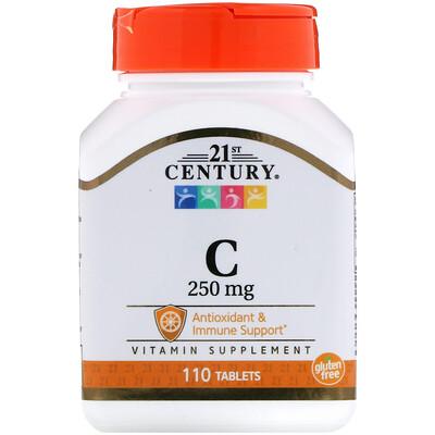 21st Century ВитаминC, 250мг, 110таблеток