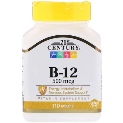 Витамин B-12, 500 мкг, 110 таблеток 1 calc fluor 6x 500 таблеток