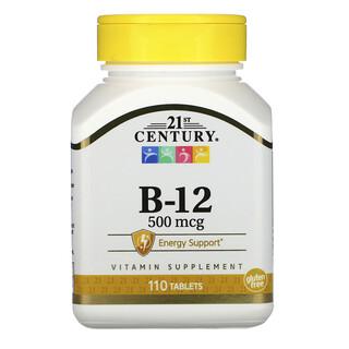 21st Century, VitaminaB12, 500mcg, 110comprimidos