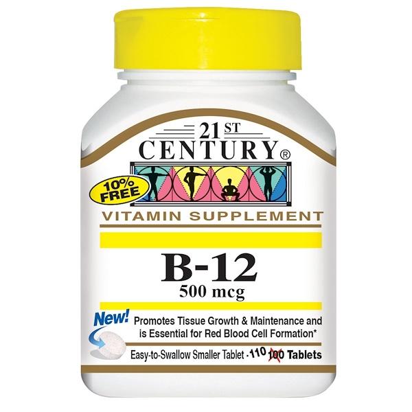 21st Century, B-12, 500 mcg, 110 Tablets