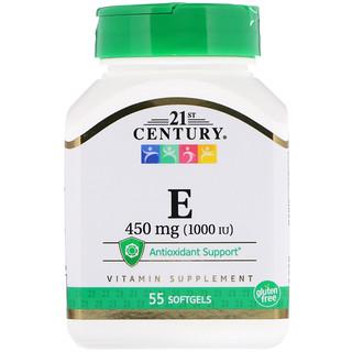 21st Century, E, 450 mg (1000 IU), 55 Softgels