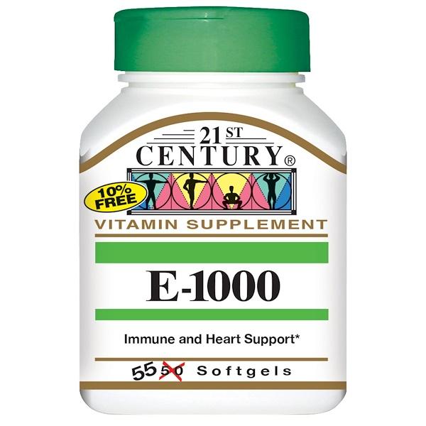 21st Century, E-1000 維生素片,55 粒軟膠囊