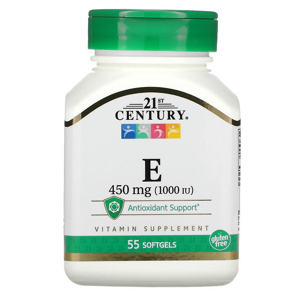 E, 450 mg (1,000 IU), 55 Softgels