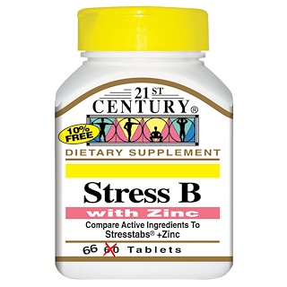 21st Century, Stress B, with Zinc, 66 Tablets
