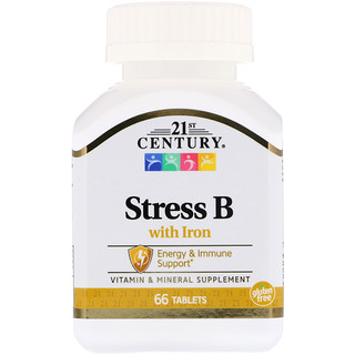 21st Century, Stress B, with Iron, 66 Tablets