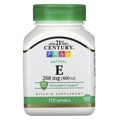 Купить 21st Century Натуральный витамин E, 268 мг (400 МЕ), 110 мягких таблеток