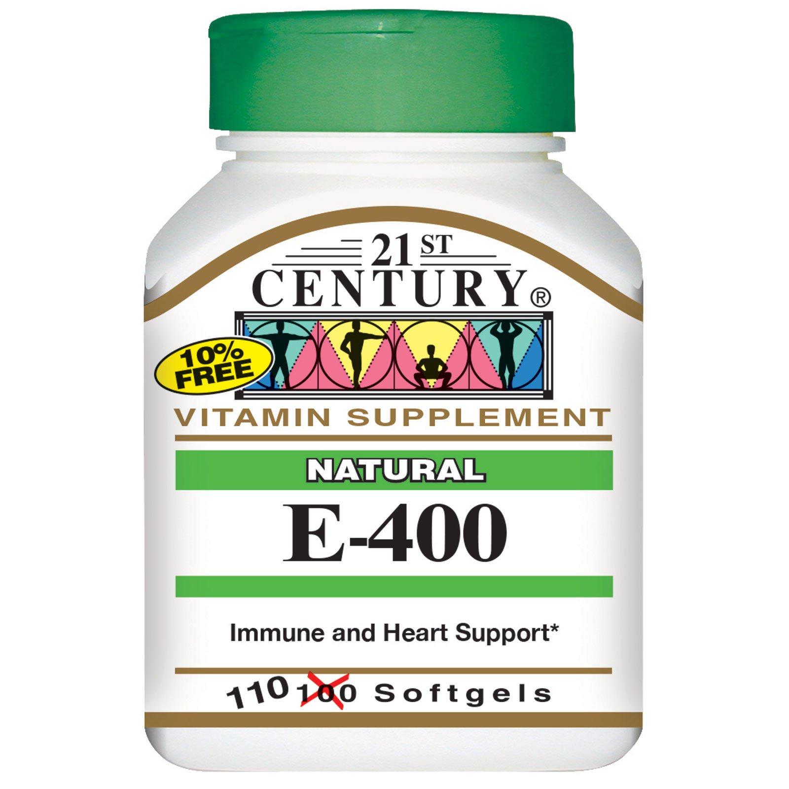 21st Century, E-400, натуральный, 110 желатиновых капсул