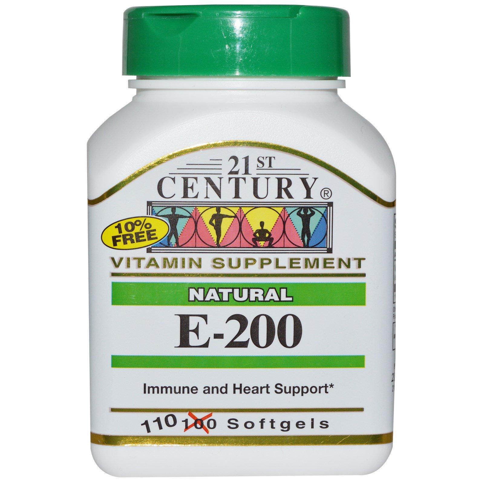 21st Century, E-200, натуральный продукт, 110 мягких капсул