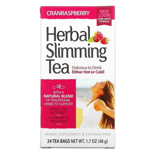 21st Century, Herbal Slimming Tea, Cranraspberry, Caffeine Free, 24 Tea Bags, 1.7 oz (48 g)