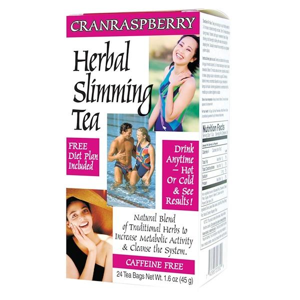 21st Century, Herbal Slimming Tea, Cranraspberry, Caffeine Free, 24 Tea Bags, 1.6 oz (45 g)