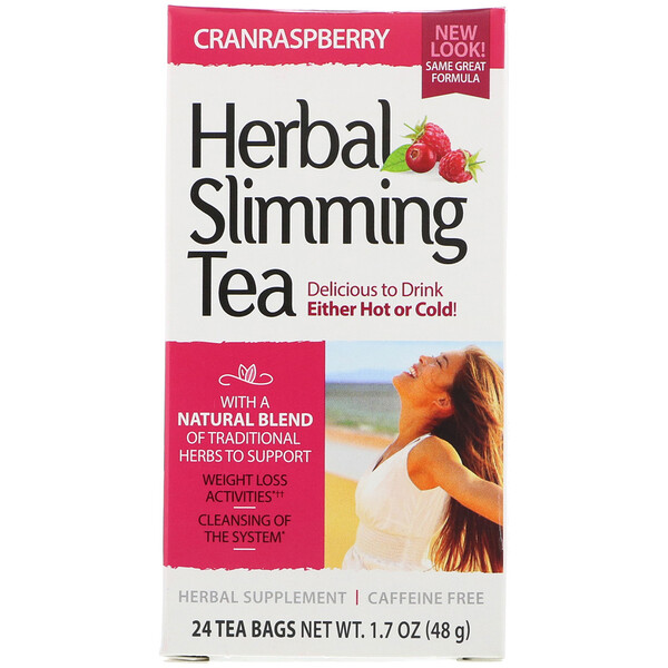 Herbal Slimming Tea, Cranraspberry, Caffeine Free, 24 Tea Bags, 1.6 oz (45 g)