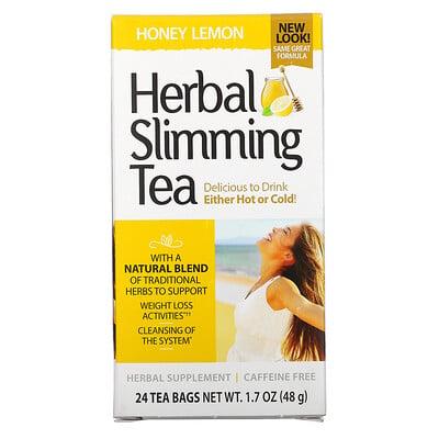 Купить 21st Century травяной чай для похудения, мед с лимоном, без кофеина, 24чайных пакетика, 48г (1, 7унции)