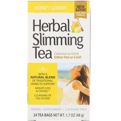 Травяной чай для похудения, мед с лимоном, без кофеина, 24 чайных пакетиков, 48 г (1,7 унции)
