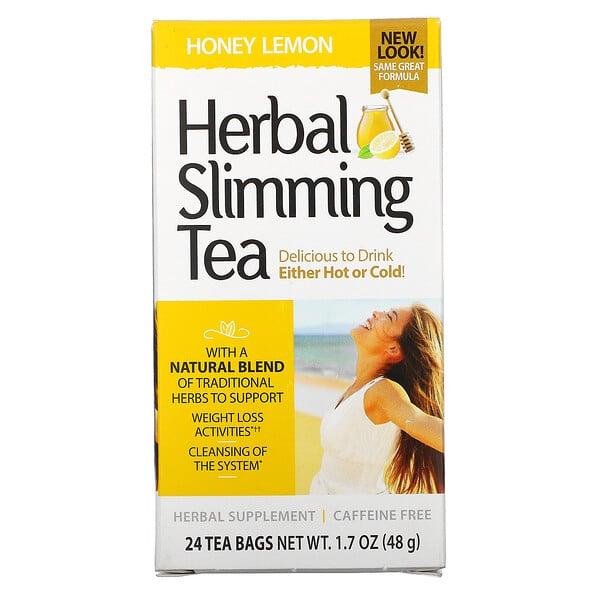 شاي التنحيف العشبي، بالعسل والليمون، خالٍ من الكافيين، 24 كيس شاي، 1.7 أونصة (48 جم)