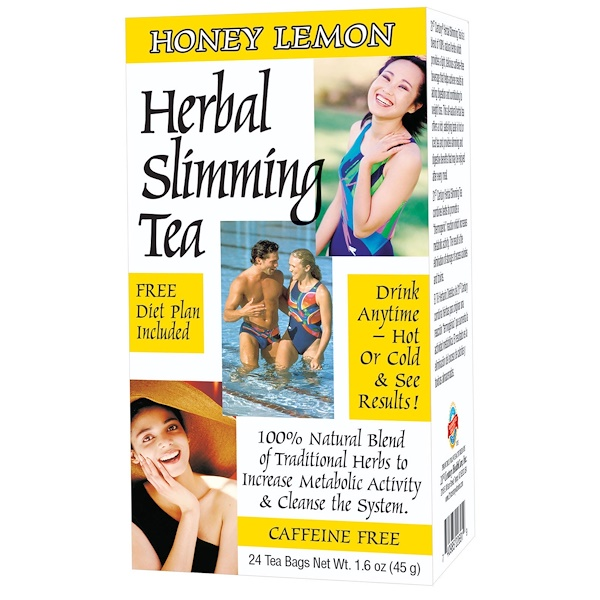 21st Century, Herbal Slimming Tea, Honey Lemon, Caffeine Free, 24 Tea Bags, 1.6 oz (45 g)