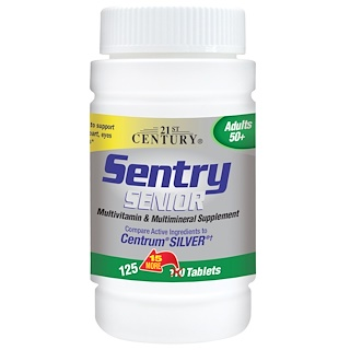 21st Century, Sentry Senior, Multivitamin & Multimineral Supplement, Adults 50+, 125 Tablets
