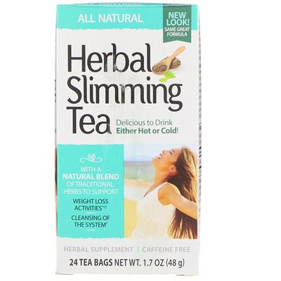 Купить Herbal Slimming Tea, All Natural, Caffeine Free, 24 Tea Bags, 1.7 oz (48 g)
