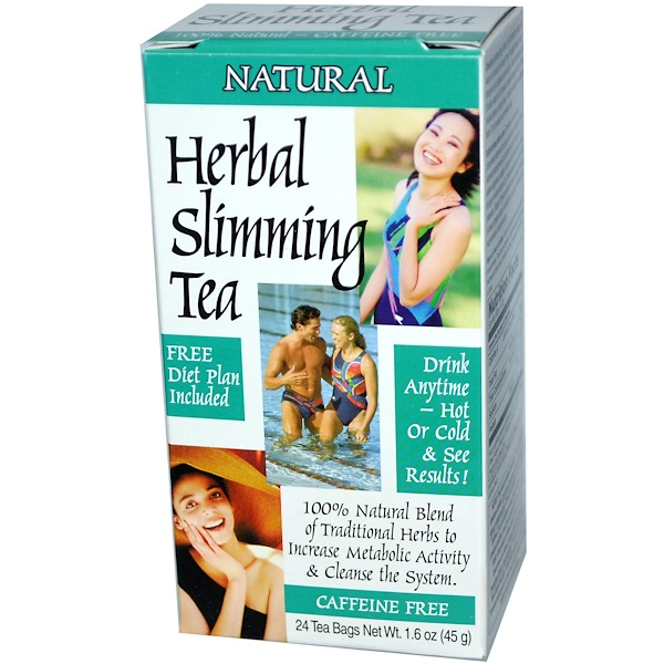 21st Century, Herbal Slimming Tea, Caffeine Free, Natural, 24 Tea Bags, 1.6 oz (45 g)