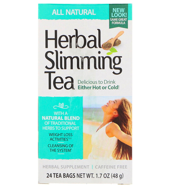 شاي التنحيف العشبي، طبيعي بالكامل، خالٍ من الكافيين، 24 كيس شاي، 1.7 أونصة (48 جم)
