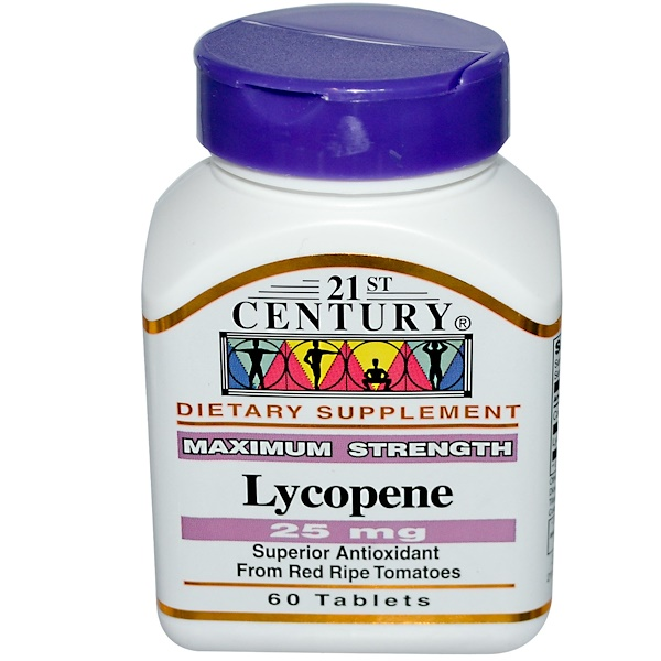 21st Century, Lycopene, Maximum Strength, 25 mg, 60 Tablets