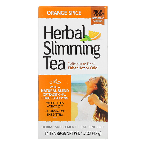Herbal Slimming Tea, Orange Spice, Caffeine Free, 24 Tea Bags, 1.7 oz (48 g)