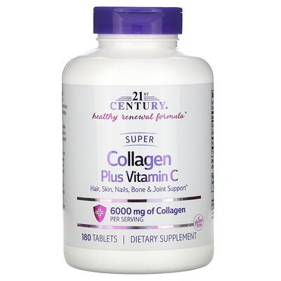 21st Century Суперколлаген с витамином C, 6000 мг, 180 таблеток