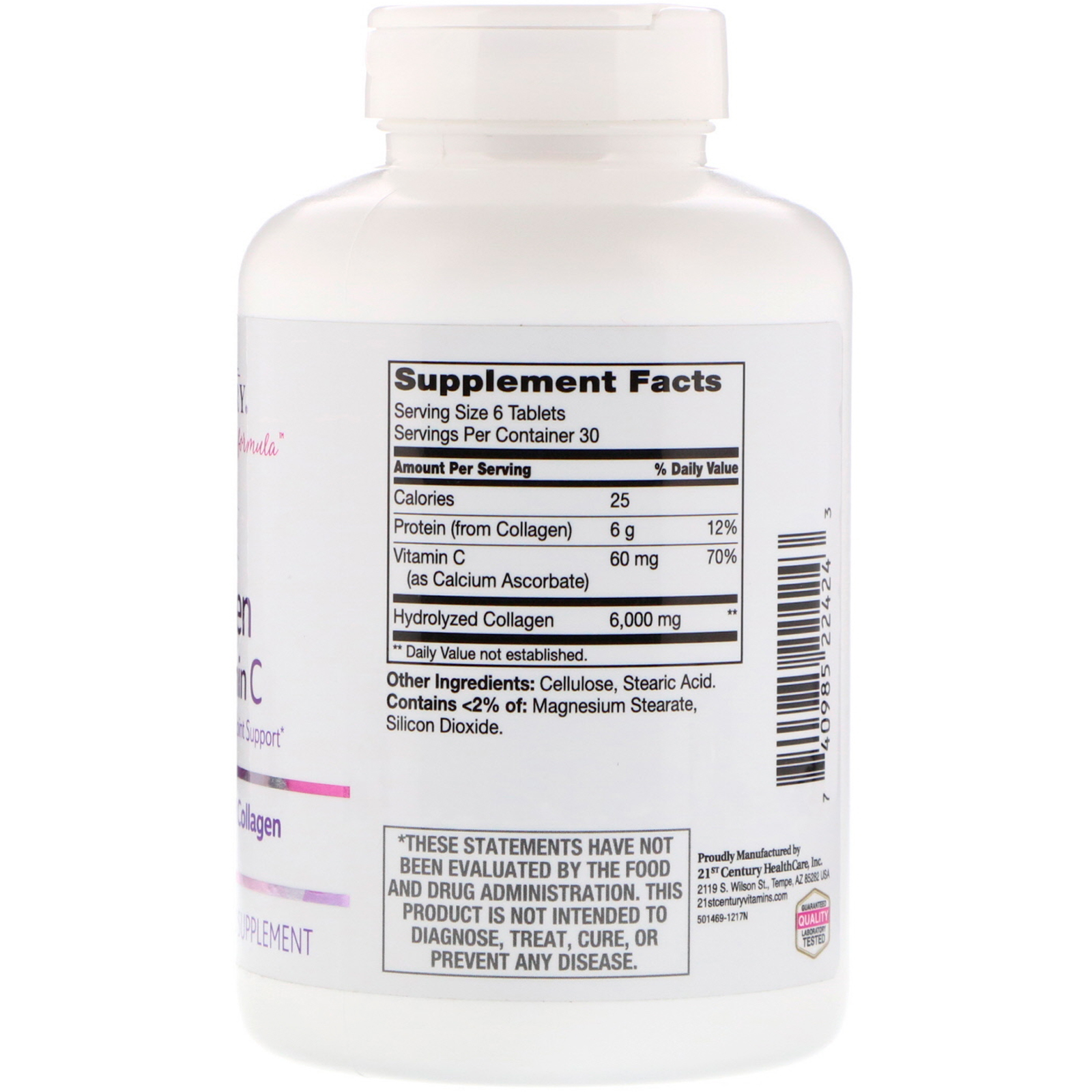 21st Century Super Collagen Plus Vitamin C 6000 Mg 180 Tablets White Vit Click To Zoom