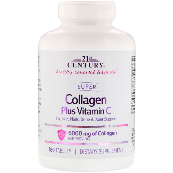21st Century, Super Collagen Plus Vitamin C, 6,000 mg, 180 Tablets