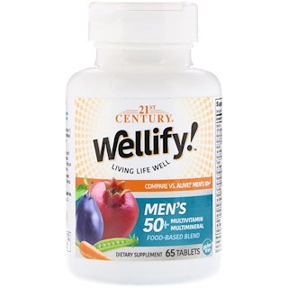 21st Century, Wellify, Men's 50+, Multivitamin Multimineral, 65 Tablets