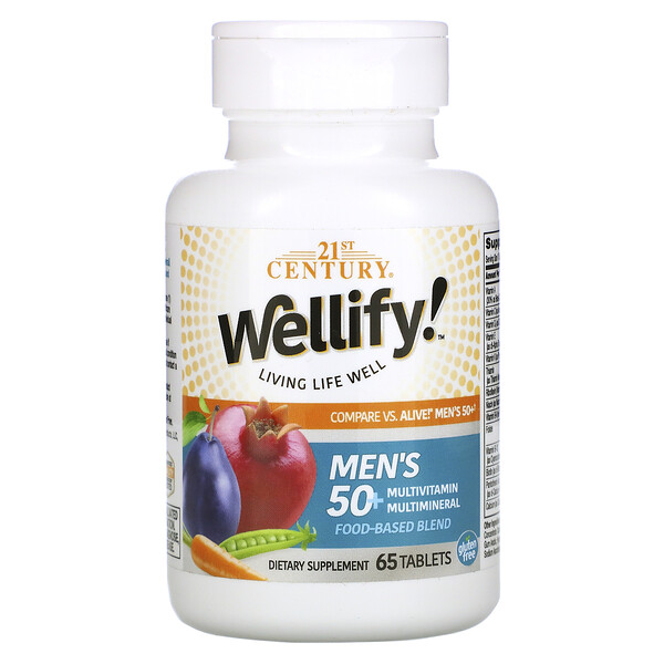 21st Century, Wellify, Men's 50+ Multivitamin Multimineral, 65 Tablets