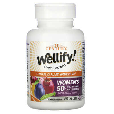 Купить 21st Century Wellify, мультивитамины и мультиминералы для женщин старше 50лет, 65таблеток