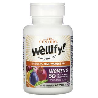 21st Century, Wellify, мультивитамины и мультиминералы для женщин старше 50лет, 65таблеток