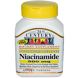 21st Century, Niacinamide, 500 mg, 110 Tablets