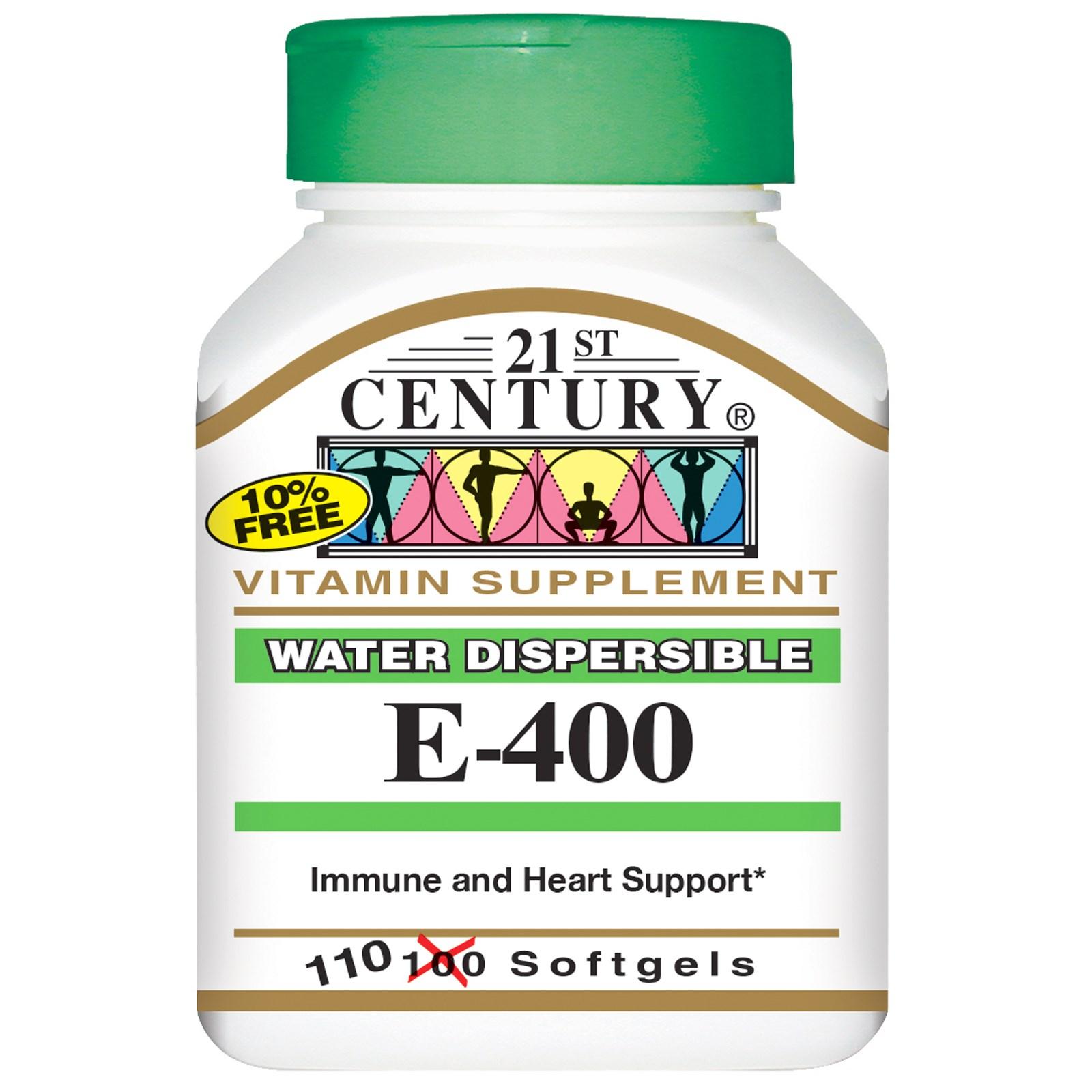 21st Century, E-400, диспергируемые в воде, 110 мягких таблеток