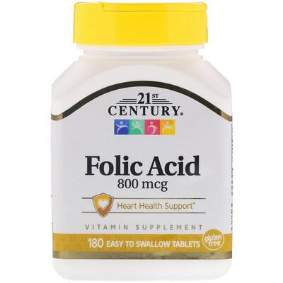 Купить Folic Acid, 800 mcg, 180 Easy to Swallow Tablets