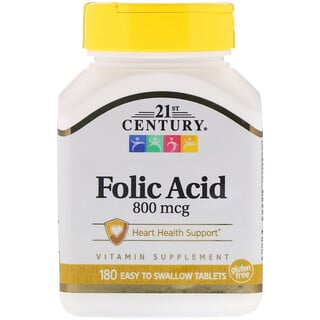 21st Century, Folic Acid, 800 mcg, 180 Easy to Swallow Tablets