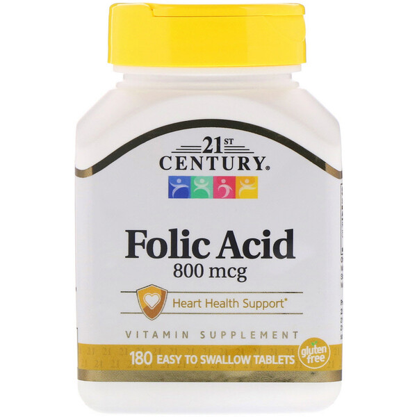 Folic Acid, 800 mcg, 180 Easy to Swallow Tablets