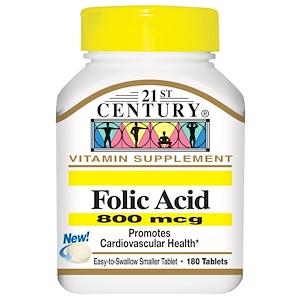 21st Century, Фолиевая кислота, 800 мкг, 180 таблеток купить на iHerb