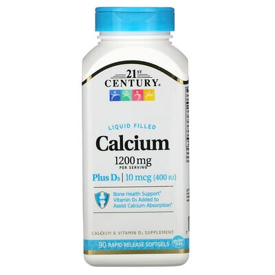 21st Century Жидкий кальций с витаминомD3, 1200мг, 90мягких таблеток с быстрым высвобождением