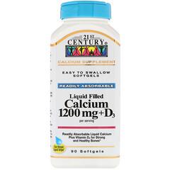 21st Century, 鈣1200毫克+維他命D3液體軟膠囊,90粒