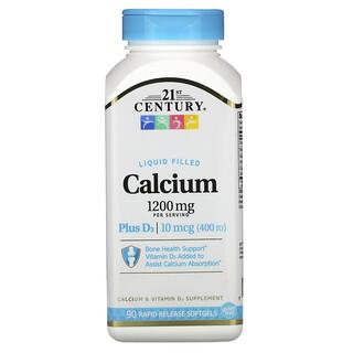 21st Century, 액체 형태 칼슘 플러스 D3, 1,200mg, 빠른 용해 소프트젤 90정