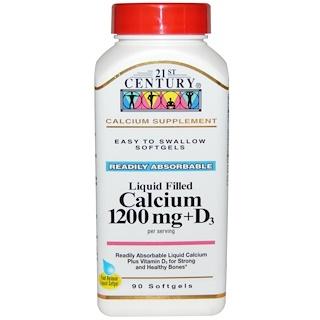 21st Century, Liquid Filled Calcium 1200 mg + D3, 90 Softgels