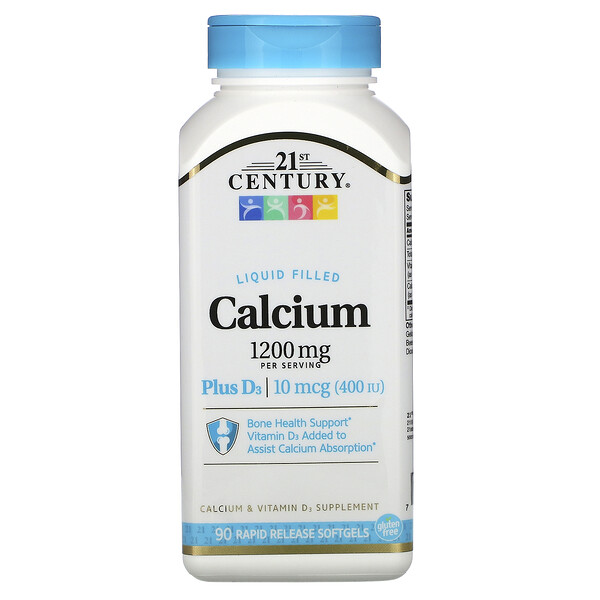 21st Century, Liquid Filled Calcium Plus D3, 1,200 mg, 90 Rapid Release Softgels