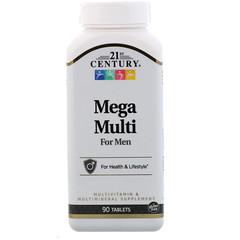 21st Century, Mega Multi, для мужчин, мультивитамины и мультиминералы, 90таблеток