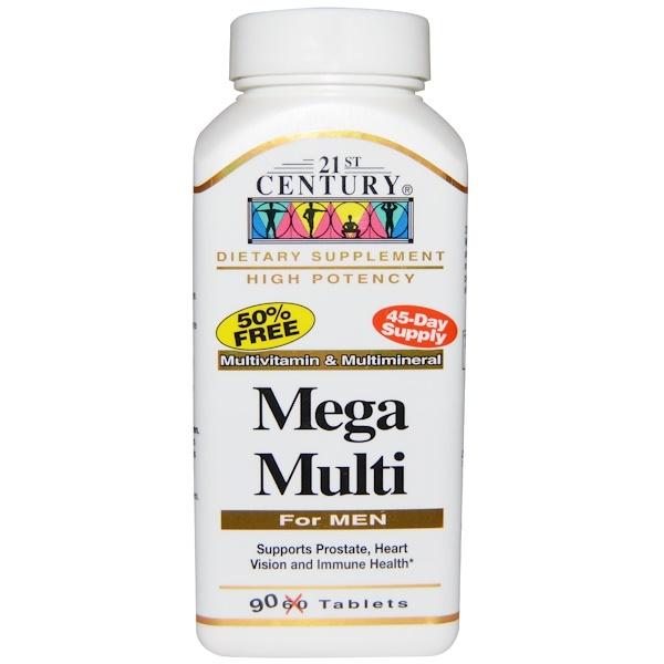 維生素複合維生素 - 男性:21st Century, Mega Multi,男性,多種維生素及礦物質,90 片