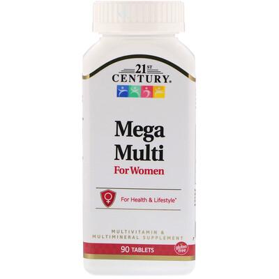 Mega Multi, для женщин, мультивитамины и мультиминералы, 90 таблеток alive max3 daily мультивитамины для мужчин 90таблеток