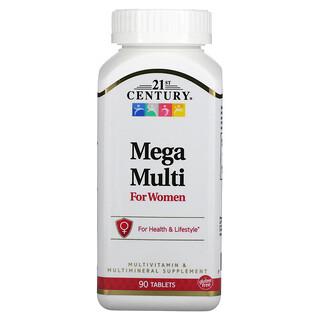 21st Century, MegaMulti, мультивитамины и мультимикроэлементы для женщин, 90таблеток