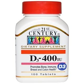 21st Century, D3, 400 IU, 100 정